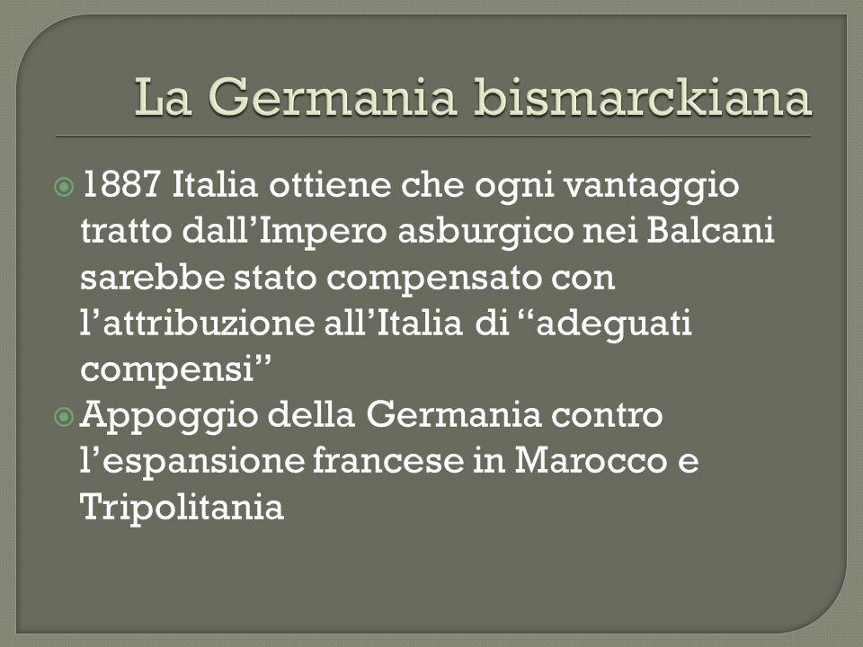 1887 Italia ottiene che ogni vantaggio tratto dallImpero asburgico nei Balcani sarebbe stato compensato con lattribuzione allItalia di adeguati compen