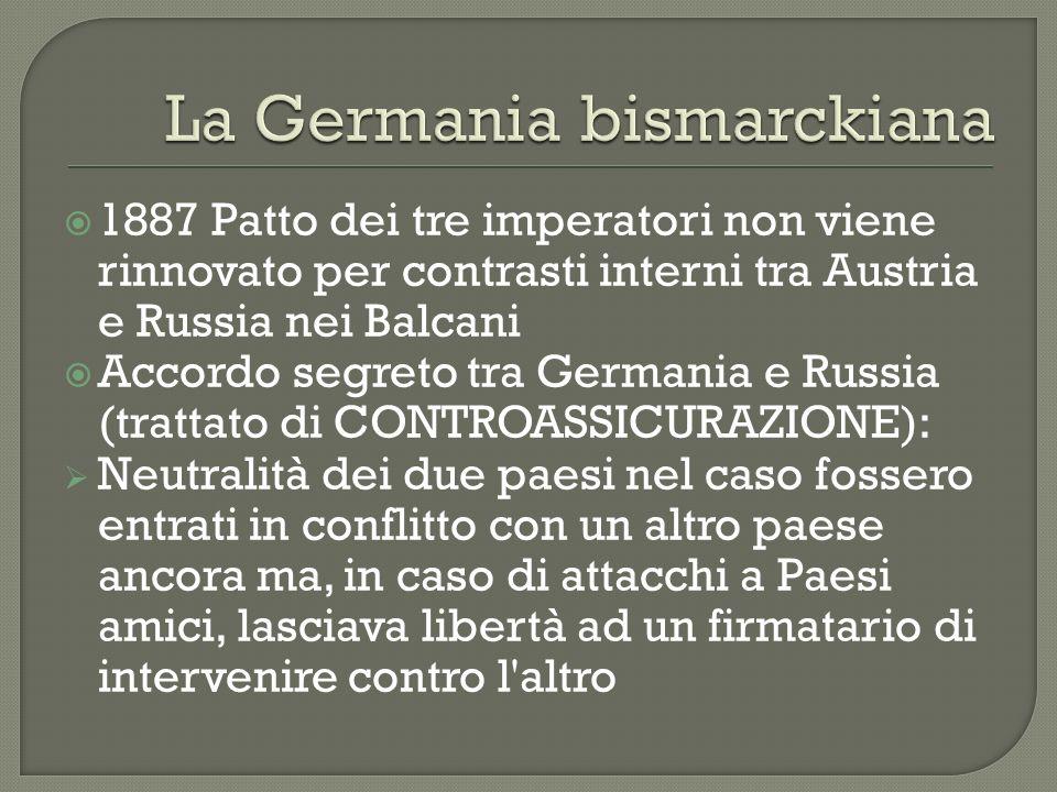1887 Patto dei tre imperatori non viene rinnovato per contrasti interni tra Austria e Russia nei Balcani Accordo segreto tra Germania e Russia (tratta