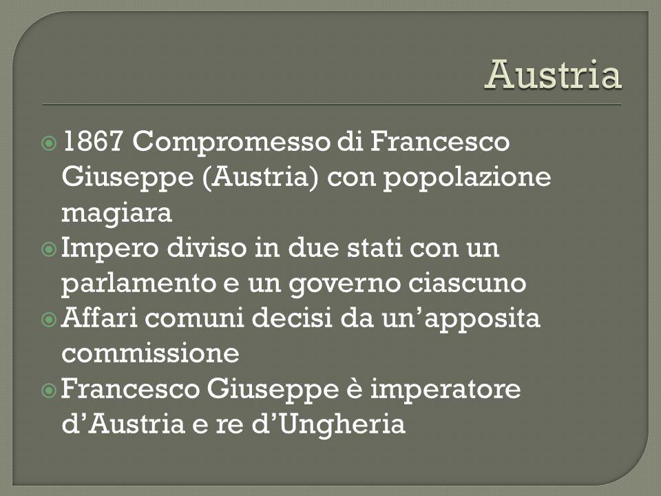 1867 Compromesso di Francesco Giuseppe (Austria) con popolazione magiara Impero diviso in due stati con un parlamento e un governo ciascuno Affari com