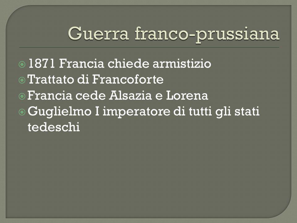 1879 Austria e Germania alleate per paura della Russia 1881 rinnovato il patto dei tre imperatori 1882 TRIPLICE ALLEANZA (ITALIA, GERMANIA, AUSTRIA) Accordo rinnovabile ogni 5 anni