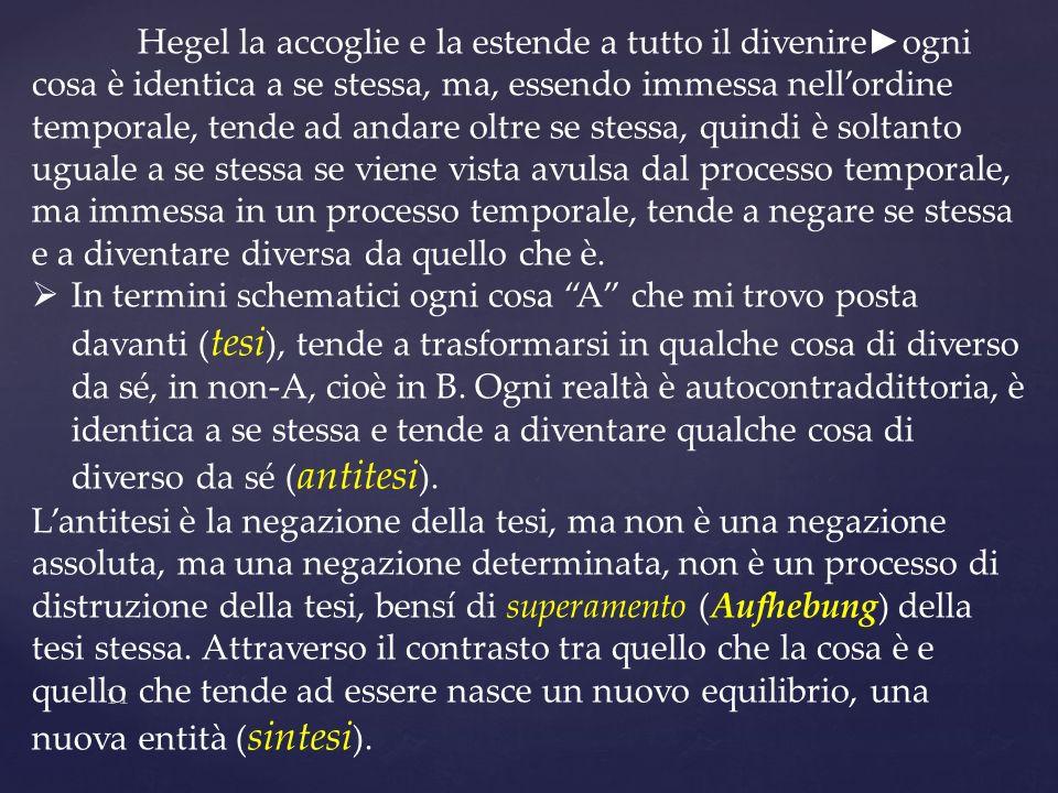 11 Hegel la accoglie e la estende a tutto il divenire ogni cosa è identica a se stessa, ma, essendo immessa nellordine temporale, tende ad andare oltr