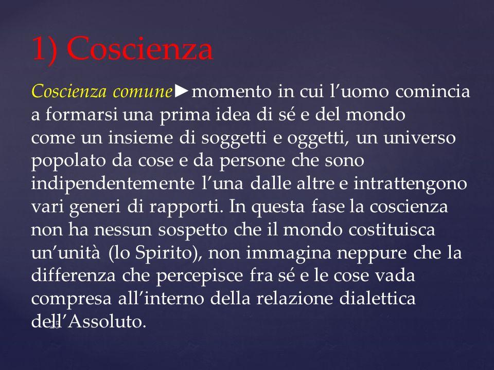 25 1) Coscienza Coscienza comune momento in cui luomo comincia a formarsi una prima idea di sé e del mondo come un insieme di soggetti e oggetti, un u