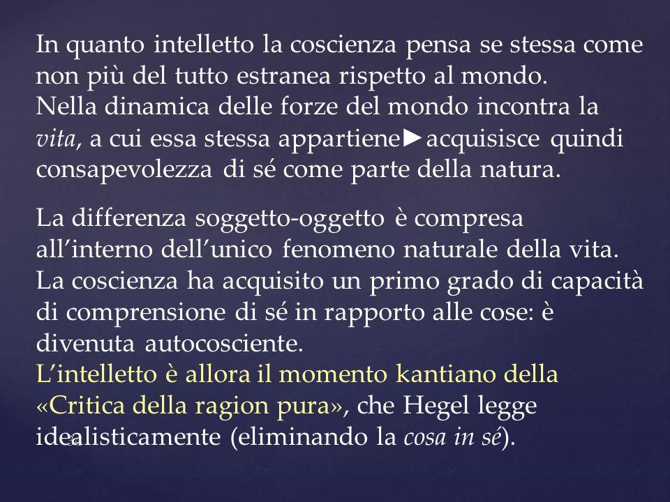 34 In quanto intelletto la coscienza pensa se stessa come non più del tutto estranea rispetto al mondo. Nella dinamica delle forze del mondo incontra
