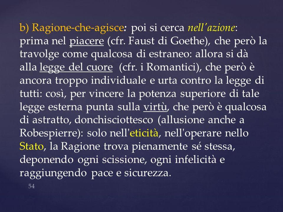 54 b) Ragione-che-agisce: poi si cerca nell'azione: prima nel piacere (cfr. Faust di Goethe), che però la travolge come qualcosa di estraneo: allora s