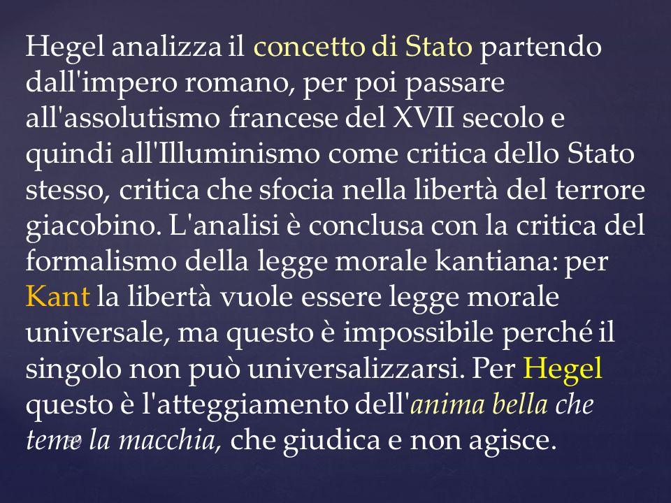 59 Hegel analizza il concetto di Stato partendo dall'impero romano, per poi passare all'assolutismo francese del XVII secolo e quindi all'Illuminismo