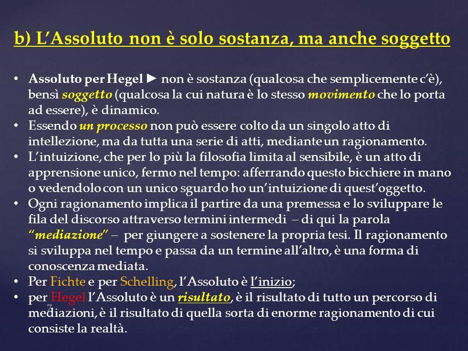 7 b) LAssoluto non è solo sostanza, ma anche soggetto Assoluto per Hegel non è sostanza (qualcosa che semplicemente cè), bensì soggetto (qualcosa la c