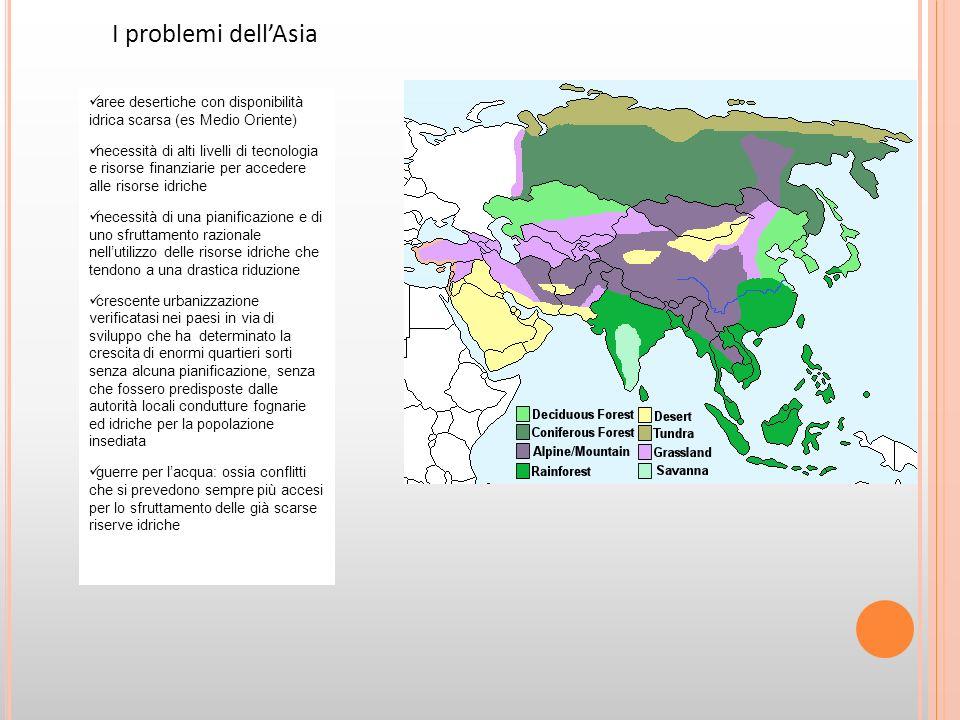 Da molti anni persiste una grande tensione tra Turchia - da un lato - e Iran, Iraq e Siria - dall altro - per quanto riguarda i bacini del Tigri e dell Eufrate, in quella terra che conosciamo come la Mesopotamia , la culla della civiltà Molti dei conflitti incentrati sulle risorse, come l acqua, vengono camuffati: chi controlla il potere preferisce far passare le guerre per l acqua o per l accaparramento di materie prime come petrolio, oro, diamanti...
