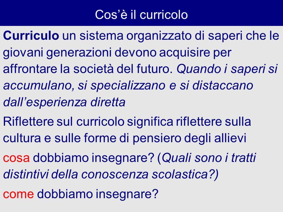 Cosè il curricolo Curriculo un sistema organizzato di saperi che le giovani generazioni devono acquisire per affrontare la società del futuro. Quando