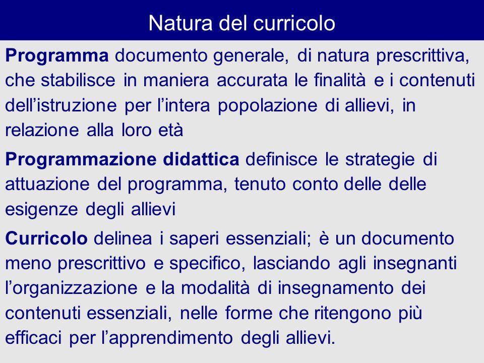Natura del curricolo Programma documento generale, di natura prescrittiva, che stabilisce in maniera accurata le finalità e i contenuti dellistruzione