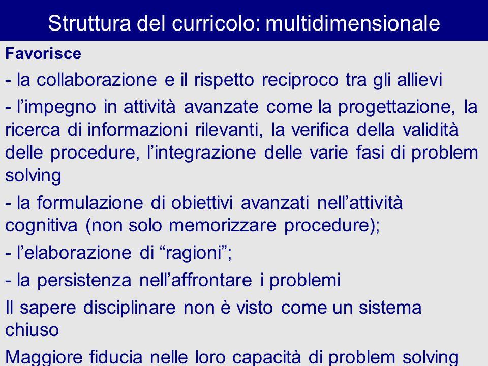 Struttura del curricolo: multidimensionale Favorisce - la collaborazione e il rispetto reciproco tra gli allievi - limpegno in attività avanzate come