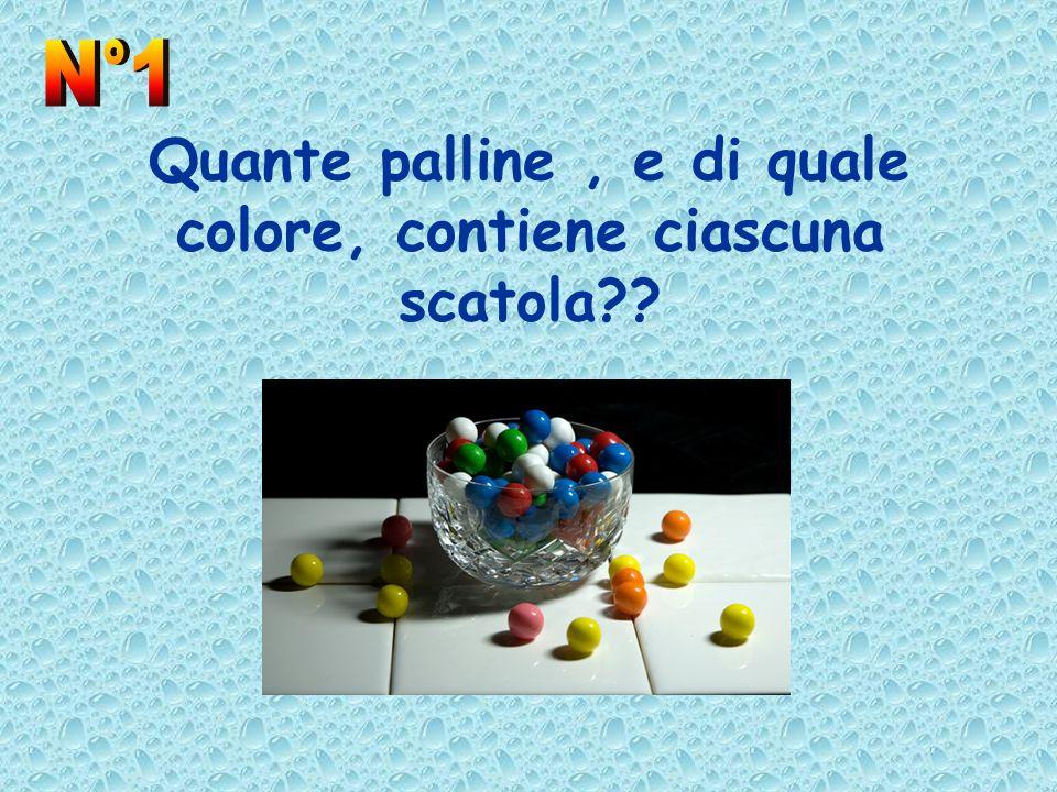 Quante palline, e di quale colore, contiene ciascuna scatola??