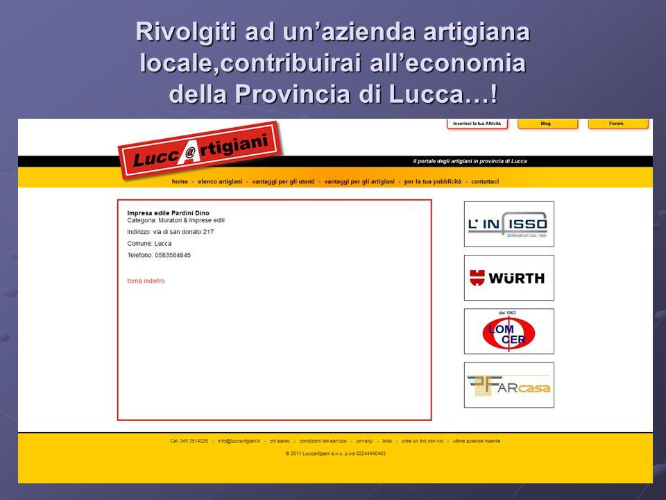 Memorizza Luccartigiani tra i tuoi preferiti… Se non adesso, ti sarà utile un giorno… www.luccartigiani.it E-mail: info@luccartigiani.it info@luccartigiani.it Tel: 345 - 3514025