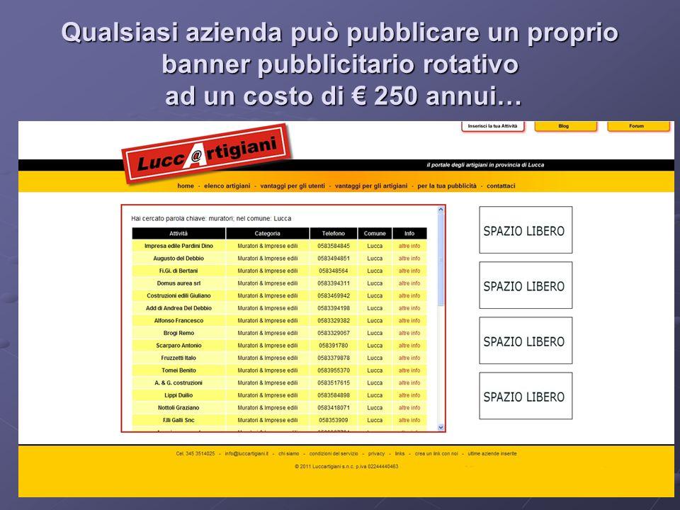 Qualsiasi azienda può pubblicare un proprio banner pubblicitario rotativo ad un costo di 250 annui…