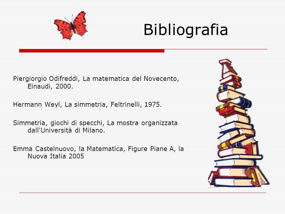Bibliografia Piergiorgio Odifreddi, La matematica del Novecento, Einaudi, 2000. Hermann Weyl, La simmetria, Feltrinelli, 1975. Simmetria, giochi di sp
