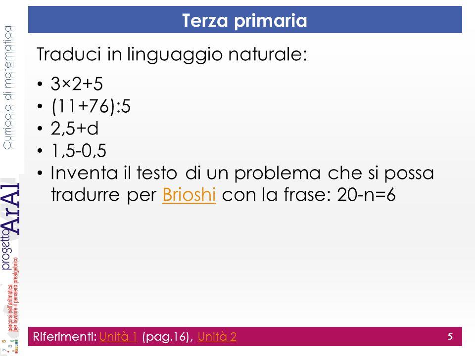 Quarta primaria Traduci in linguaggio naturale: 22+x=45 39=a-1 a+b=12 4×10+2×5 350:(16+14) 350:16+14 (1,5-0,5)-1 Riferimenti: GREMGREM 6