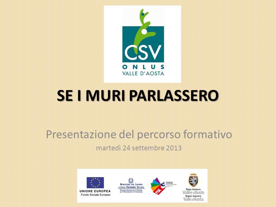 SE I MURI PARLASSERO Presentazione del percorso formativo martedì 24 settembre 2013