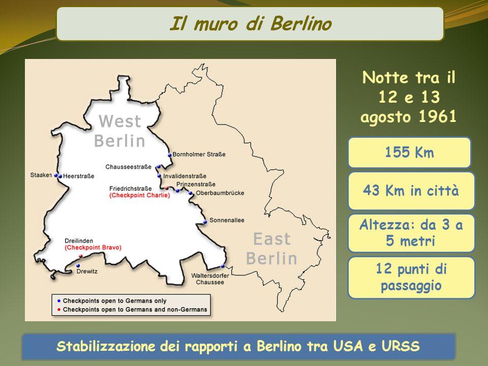 155 Km 43 Km in città 12 punti di passaggio Altezza: da 3 a 5 metri Il muro di Berlino Stabilizzazione dei rapporti a Berlino tra USA e URSS Notte tra