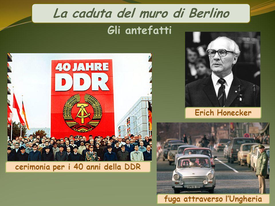 La caduta del muro di Berlino Gli antefatti cerimonia per i 40 anni della DDR Erich Honecker fuga attraverso lUngheria