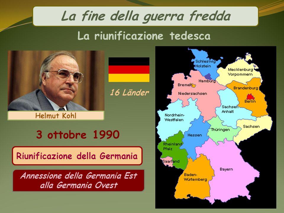La fine della guerra fredda La riunificazione tedesca Riunificazione della Germania Annessione della Germania Est alla Germania Ovest 3 ottobre 1990 H