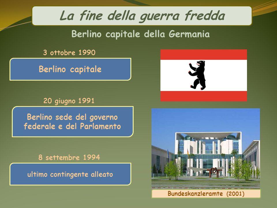 La fine della guerra fredda Berlino capitale della Germania Berlino capitale 3 ottobre 1990 8 settembre 1994 ultimo contingente alleato 20 giugno 1991
