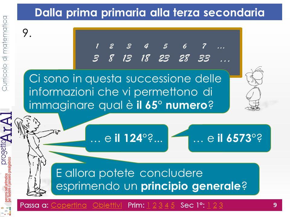 9. Passa a: Copertina Obiettivi Prim: 1 2 3 4 5 Sec 1°: 1 2 3CopertinaObiettivi12345123 9 Dalla prima primaria alla terza secondaria 1 2 3 4 5 6 7 … 3