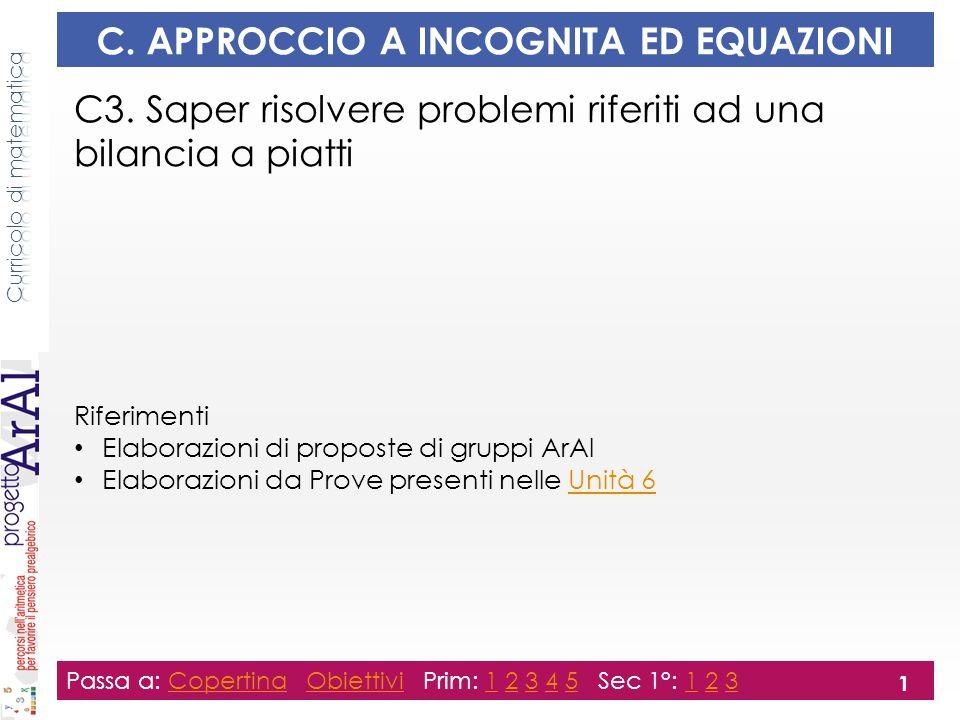 C. APPROCCIO A INCOGNITA ED EQUAZIONI C3.