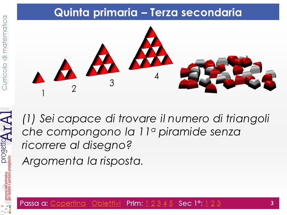 Passa a: Copertina Obiettivi Prim: 1 2 3 4 5 Sec 1°: 1 2 3CopertinaObiettivi12345123 3 Quinta primaria – Terza secondaria (1) Sei capace di trovare il numero di triangoli che compongono la 11 a piramide senza ricorrere al disegno.