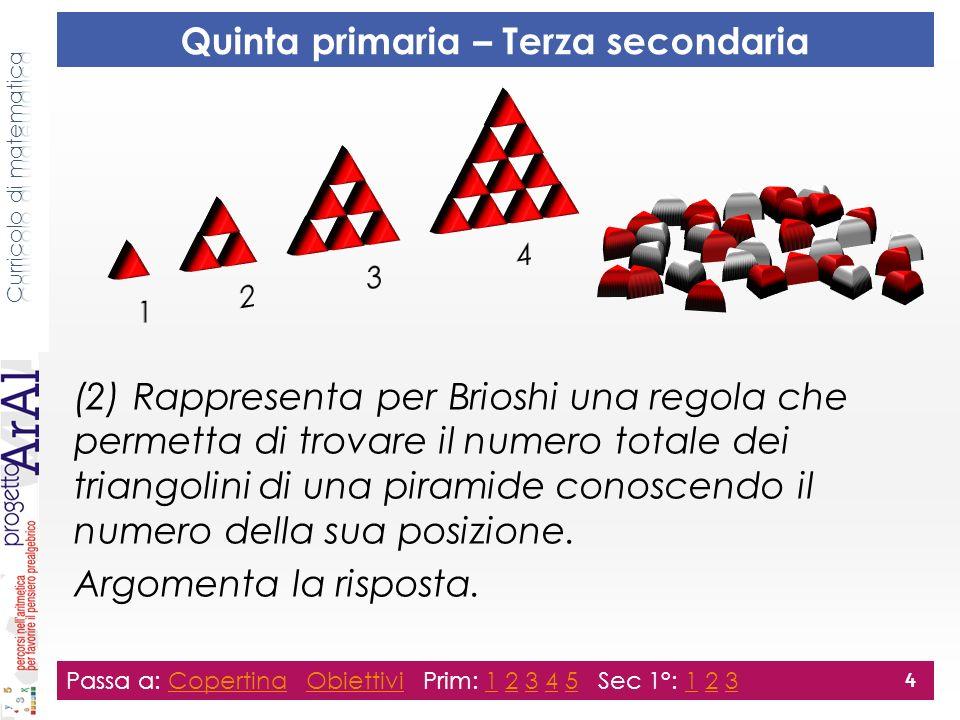Passa a: Copertina Obiettivi Prim: 1 2 3 4 5 Sec 1°: 1 2 3CopertinaObiettivi12345123 4 Quinta primaria – Terza secondaria (2) Rappresenta per Brioshi una regola che permetta di trovare il numero totale dei triangolini di una piramide conoscendo il numero della sua posizione.