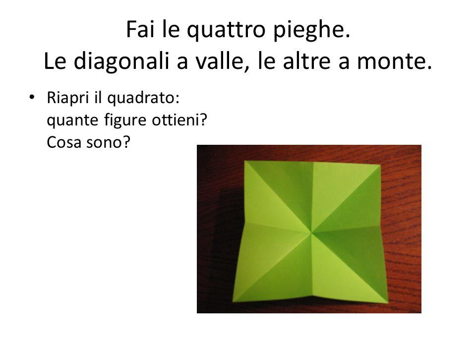 Fai le quattro pieghe. Le diagonali a valle, le altre a monte. Riapri il quadrato: quante figure ottieni? Cosa sono?
