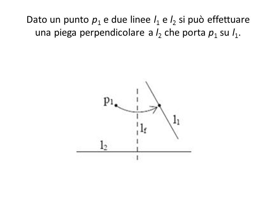 Dato un punto p 1 e due linee l 1 e l 2 si può effettuare una piega perpendicolare a l 2 che porta p 1 su l 1.