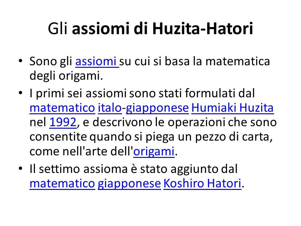 Gli assiomi di Huzita-Hatori Sono gli assiomi su cui si basa la matematica degli origami.assiomi I primi sei assiomi sono stati formulati dal matemati