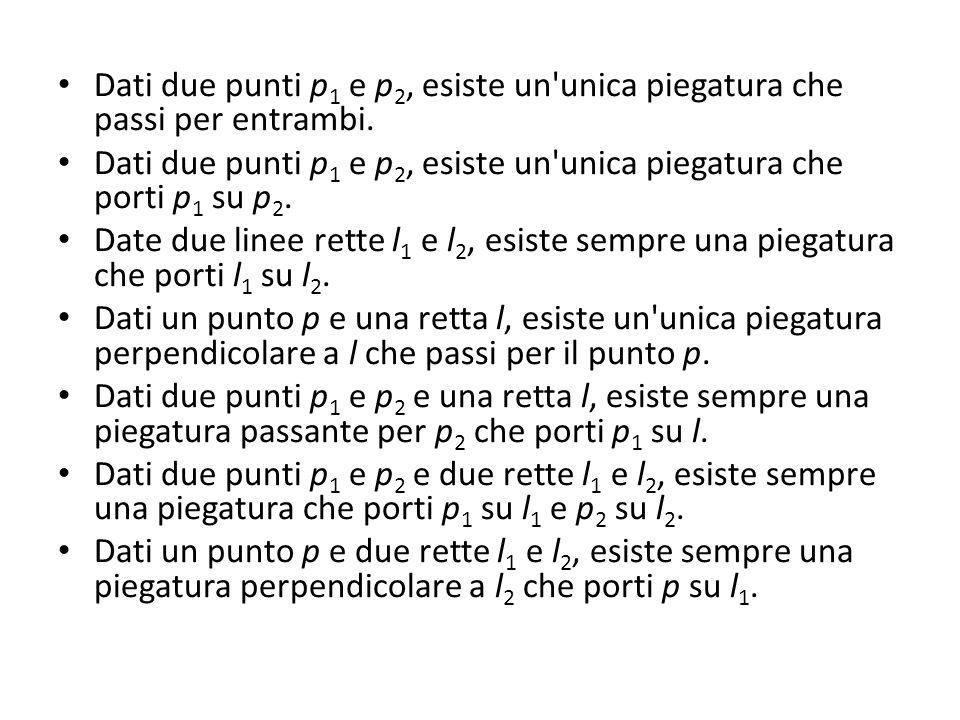 Dati due punti p 1 e p 2, esiste un'unica piegatura che passi per entrambi. Dati due punti p 1 e p 2, esiste un'unica piegatura che porti p 1 su p 2.