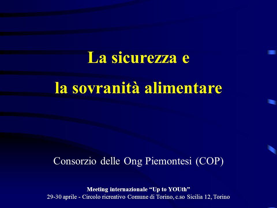 La sicurezza e la sovranità alimentare Consorzio delle Ong Piemontesi (COP) Meeting internazionale Up to YOUth 29-30 aprile - Circolo ricreativo Comun