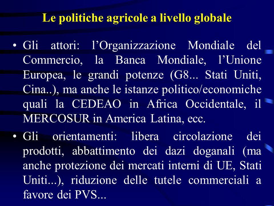 Le politiche agricole a livello globale Gli attori: lOrganizzazione Mondiale del Commercio, la Banca Mondiale, lUnione Europea, le grandi potenze (G8...