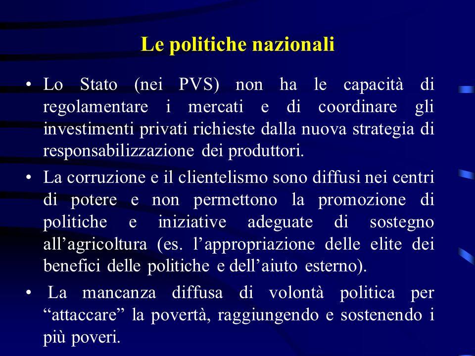 Le politiche nazionali Lo Stato (nei PVS) non ha le capacità di regolamentare i mercati e di coordinare gli investimenti privati richieste dalla nuova