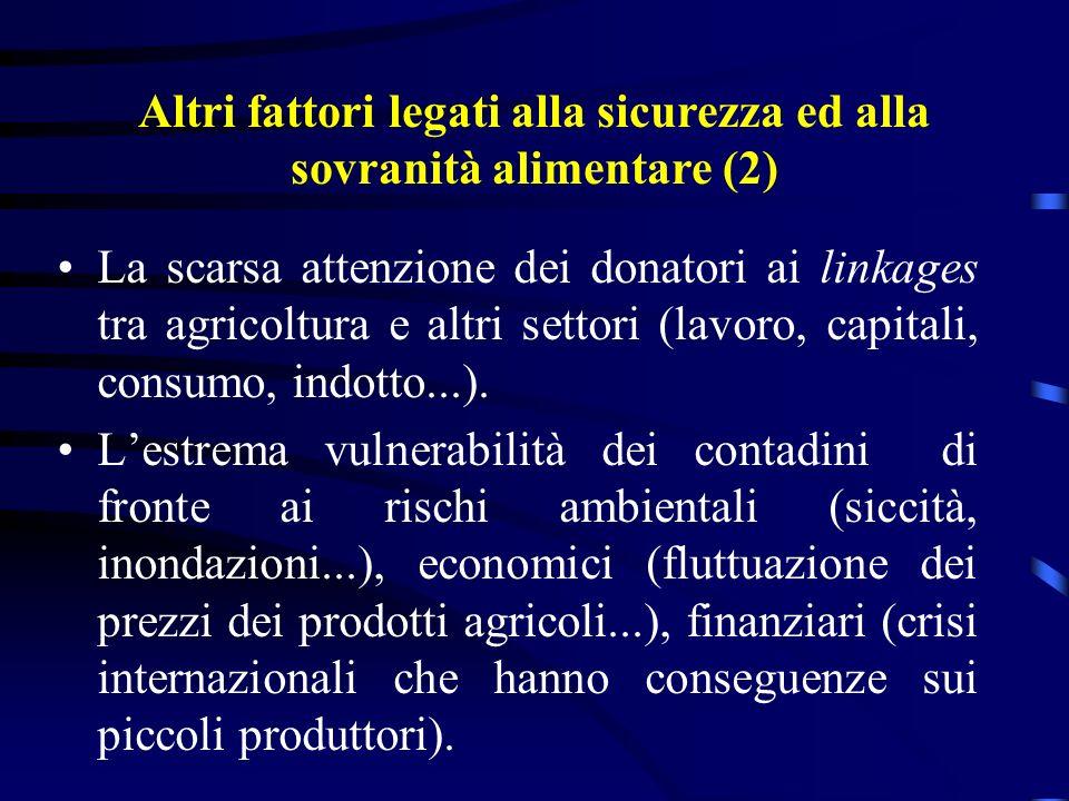 La scarsa attenzione dei donatori ai linkages tra agricoltura e altri settori (lavoro, capitali, consumo, indotto...).