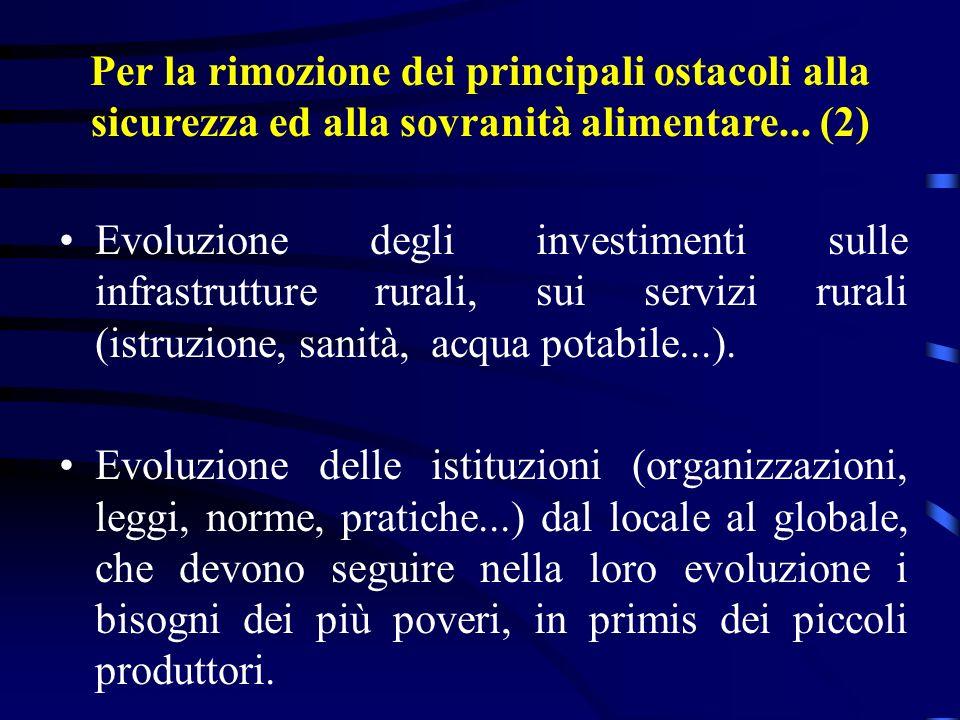 Evoluzione degli investimenti sulle infrastrutture rurali, sui servizi rurali (istruzione, sanità, acqua potabile...).