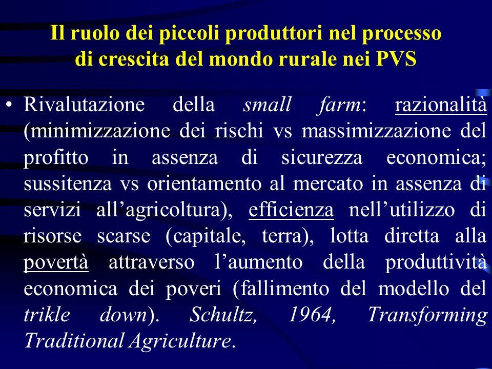 Il ruolo dei piccoli produttori nel processo di crescita del mondo rurale nei PVS Rivalutazione della small farm: razionalità (minimizzazione dei risc