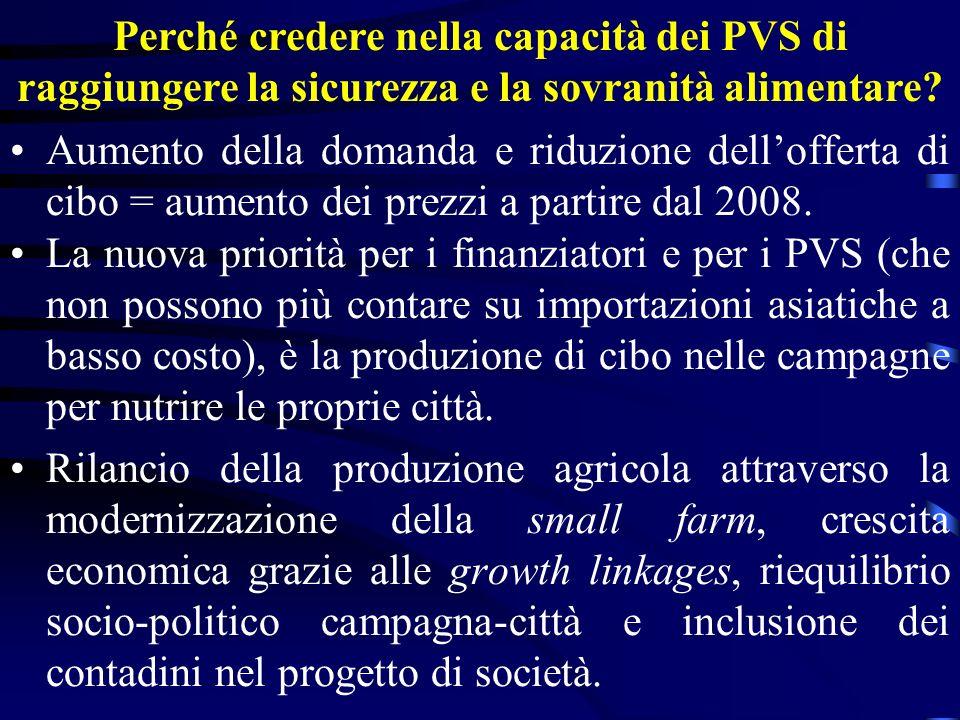 Perché credere nella capacità dei PVS di raggiungere la sicurezza e la sovranità alimentare? Aumento della domanda e riduzione dellofferta di cibo = a