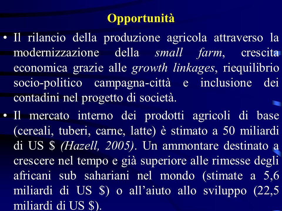 Opportunità Il rilancio della produzione agricola attraverso la modernizzazione della small farm, crescita economica grazie alle growth linkages, riequilibrio socio-politico campagna-città e inclusione dei contadini nel progetto di società.