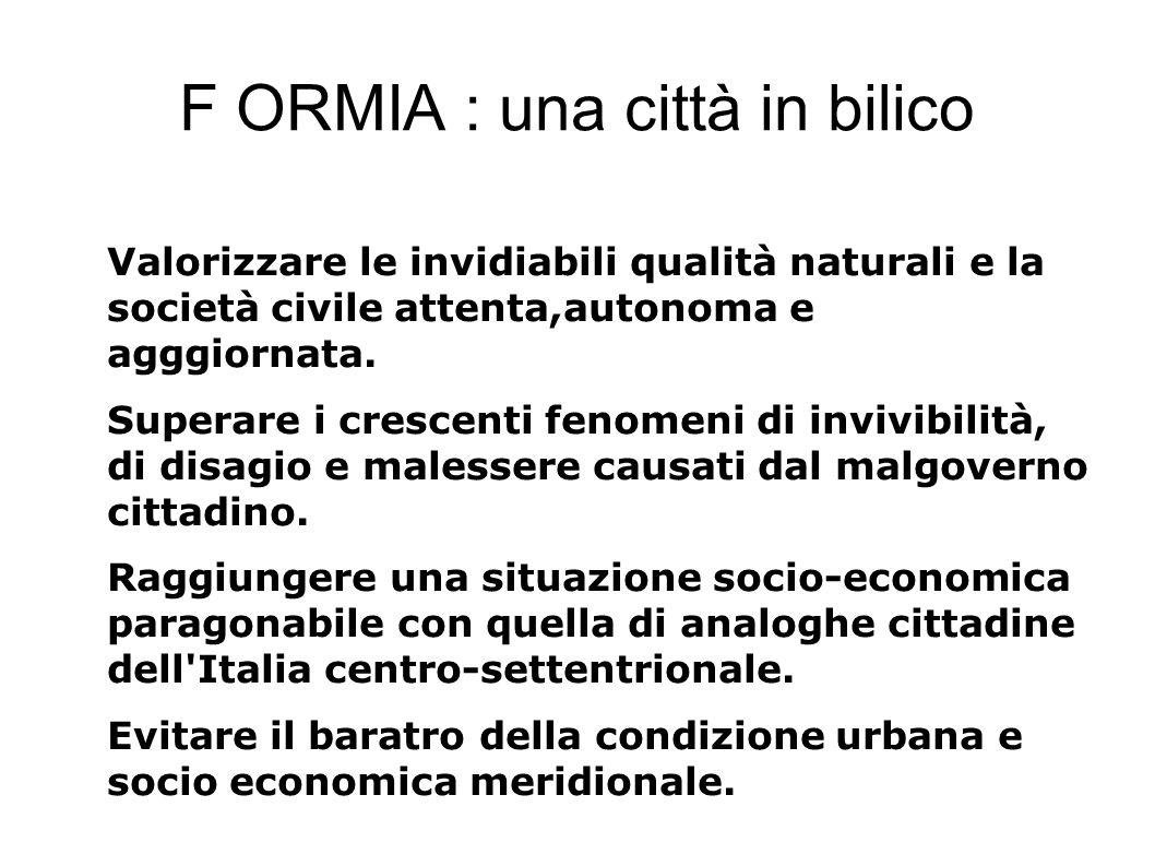 F ORMIA : una città in bilico Valorizzare le invidiabili qualità naturali e la società civile attenta,autonoma e agggiornata.