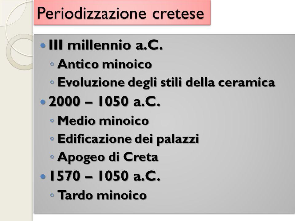 Periodizzazione cretese III millennio a.C. III millennio a.C.