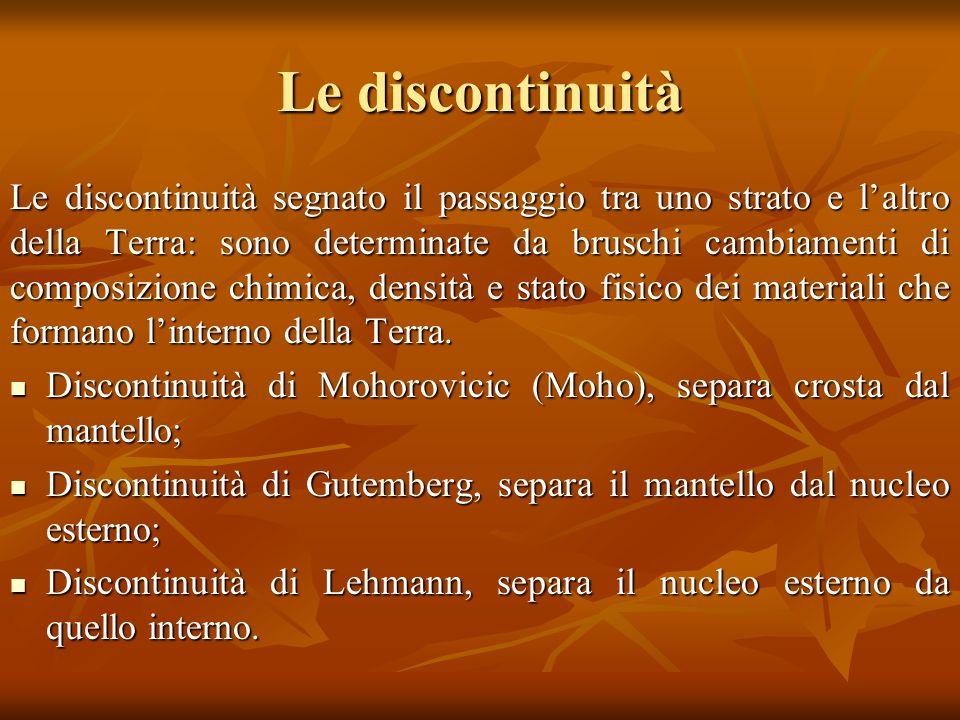 Le discontinuità Le discontinuità segnato il passaggio tra uno strato e laltro della Terra: sono determinate da bruschi cambiamenti di composizione ch