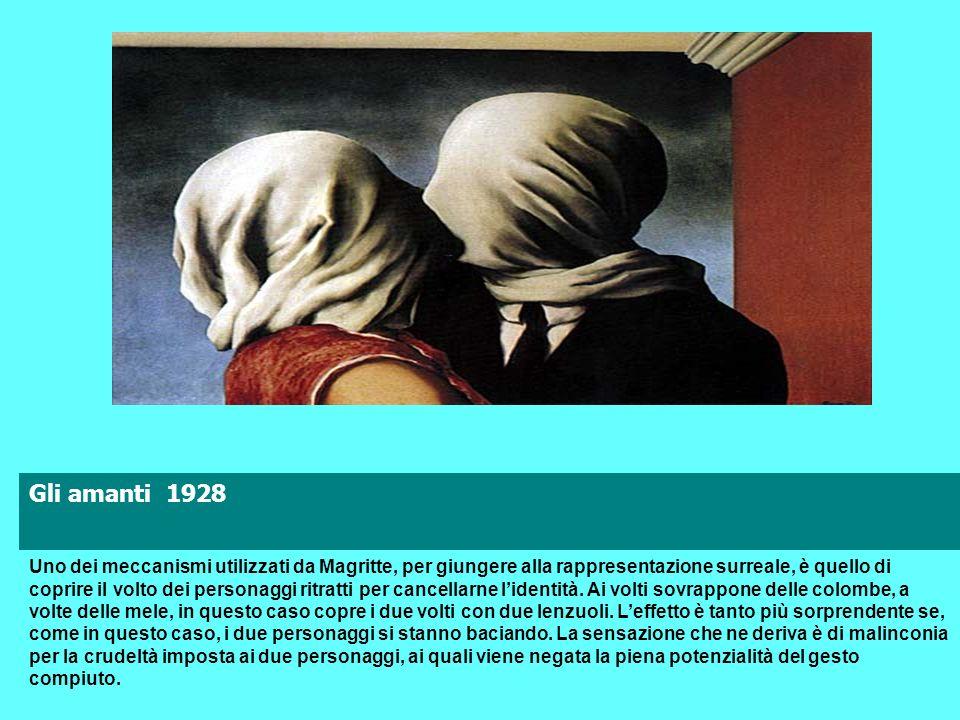 Gli amanti 1928 Uno dei meccanismi utilizzati da Magritte, per giungere alla rappresentazione surreale, è quello di coprire il volto dei personaggi ri