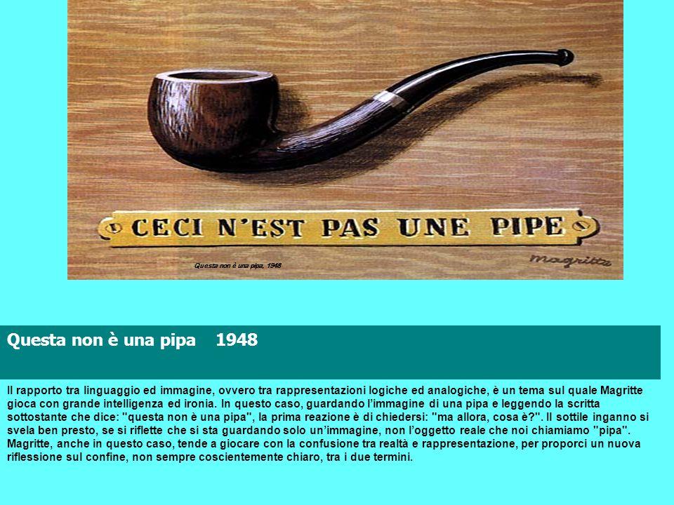 Questa non è una pipa 1948 Il rapporto tra linguaggio ed immagine, ovvero tra rappresentazioni logiche ed analogiche, è un tema sul quale Magritte gio