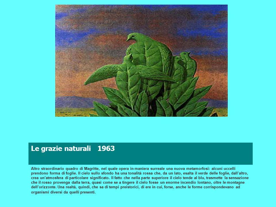 Le grazie naturali 1963 INDIETRO indice Surrealismo Magritte Altro straordinario quadro di Magritte, nel quale opera in maniera surreale una nuova met