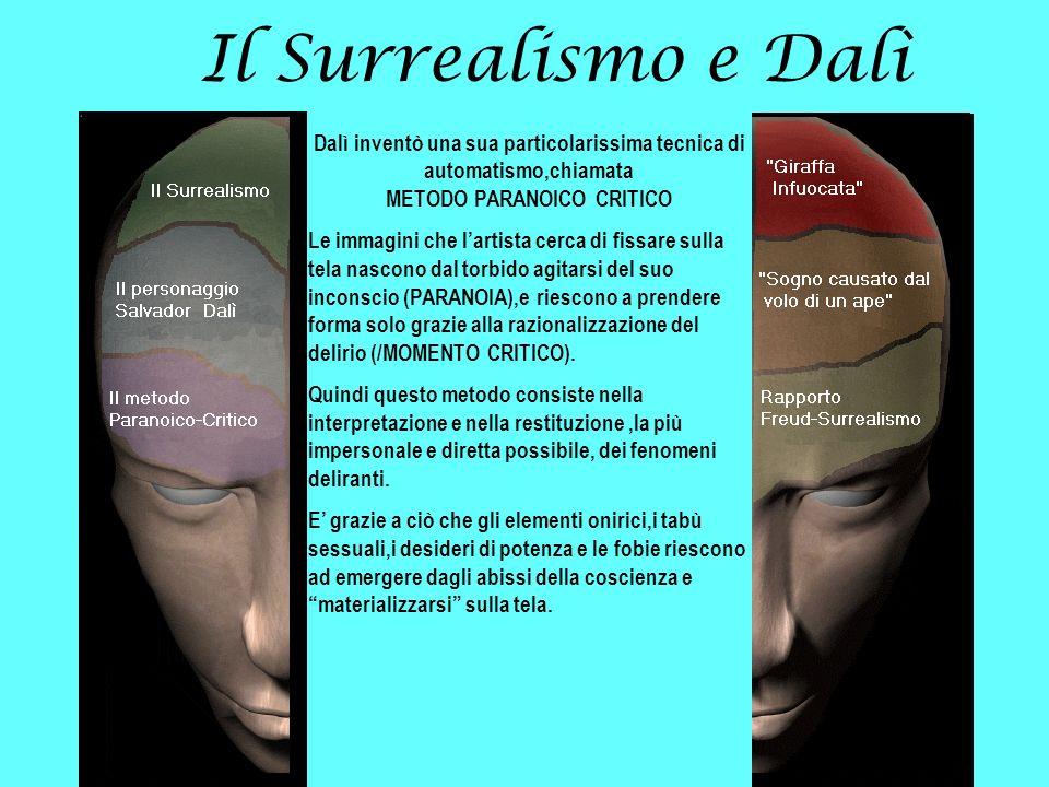 Il Surrealismo e Dalì Dalì inventò una sua particolarissima tecnica di automatismo,chiamata METODO PARANOICO CRITICO Le immagini che lartista cerca di