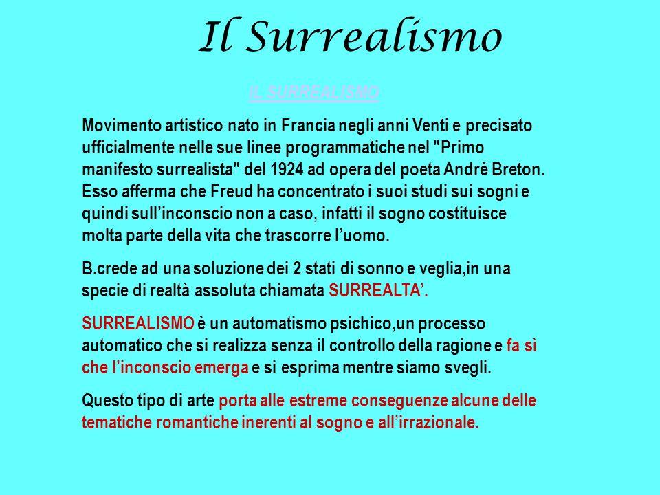 Il Surrealismo IL SURREALISMO Movimento artistico nato in Francia negli anni Venti e precisato ufficialmente nelle sue linee programmatiche nel