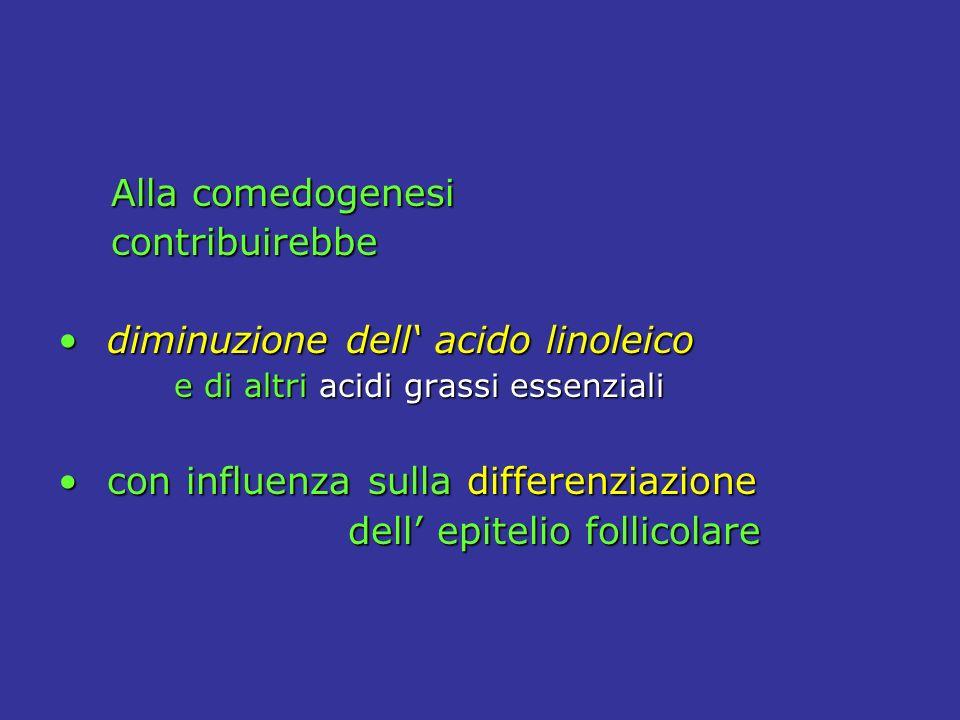 Alla comedogenesi Alla comedogenesi contribuirebbe contribuirebbe diminuzione dell acido linoleico diminuzione dell acido linoleico e di altri acidi grassi essenziali e di altri acidi grassi essenziali con influenza sulla differenziazione con influenza sulla differenziazione dell epitelio follicolare dell epitelio follicolare