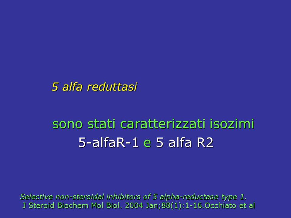 5 alfa reduttasi 5 alfa reduttasi sono stati caratterizzati isozimi sono stati caratterizzati isozimi 5-alfaR-1 e 5 alfa R2 5-alfaR-1 e 5 alfa R2 Selective non-steroidal inhibitors of 5 alpha-reductase type 1.